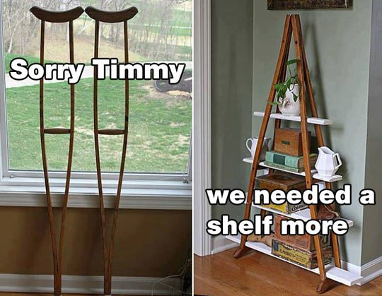 DIY Bookcase & Timmy's Crutches